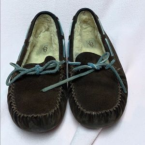 Ugg Chocolate Moccasins with Blue Bow